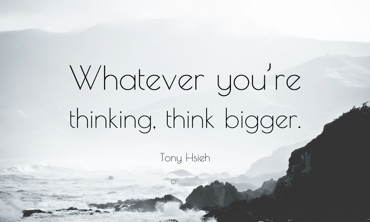 """Whatever you're thinking, think bigger"" - Tony Hsieh"